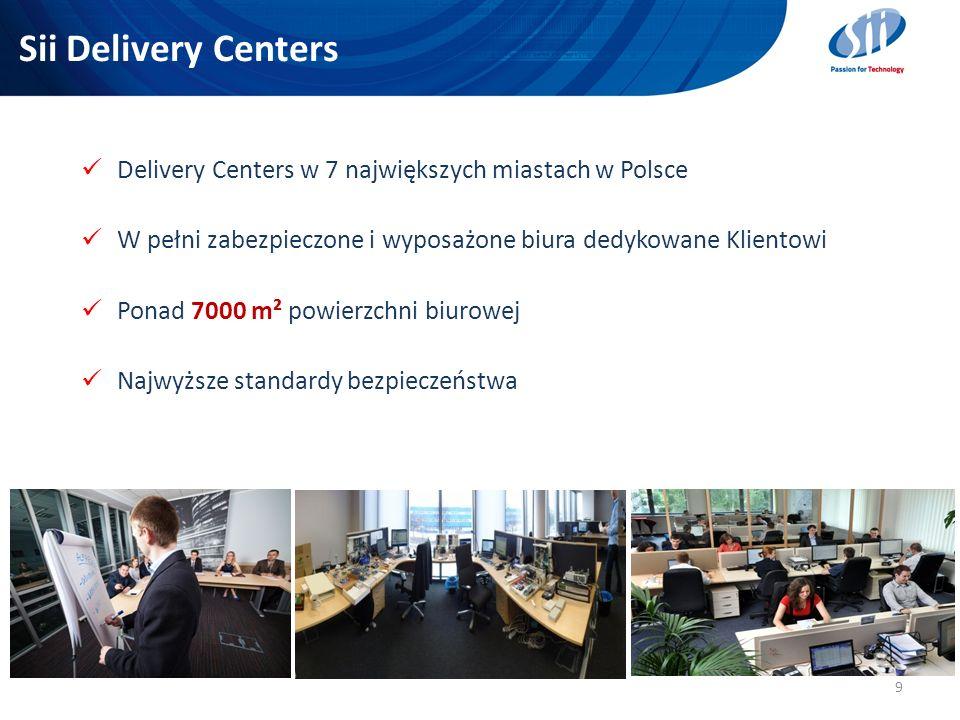 Sii Delivery Centers 9 Delivery Centers w 7 największych miastach w Polsce W pełni zabezpieczone i wyposażone biura dedykowane Klientowi Ponad 7000 m²