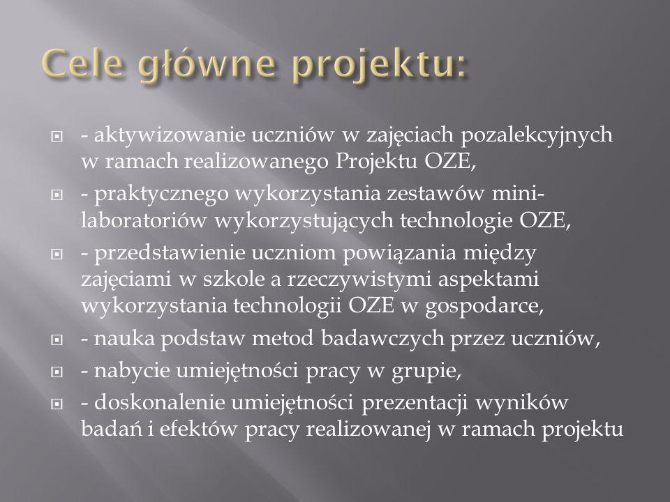 - aktywizowanie uczniów w zajęciach pozalekcyjnych w ramach realizowanego Projektu OZE, - praktycznego wykorzystania zestawów mini- laboratoriów wykor