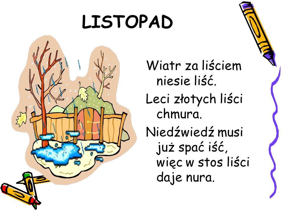 LISTOPAD Wiatr za liściem niesie liść. Leci złotych liści chmura. Niedźwiedź musi już spać iść, więc w stos liści daje nura.