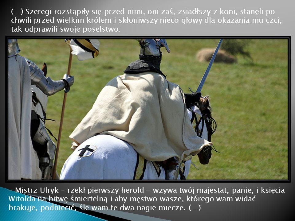 (…) Szeregi rozstąpiły się przed nimi, oni zaś, zsiadłszy z koni, stanęli po chwili przed wielkim królem i skłoniwszy nieco głowy dla okazania mu czci