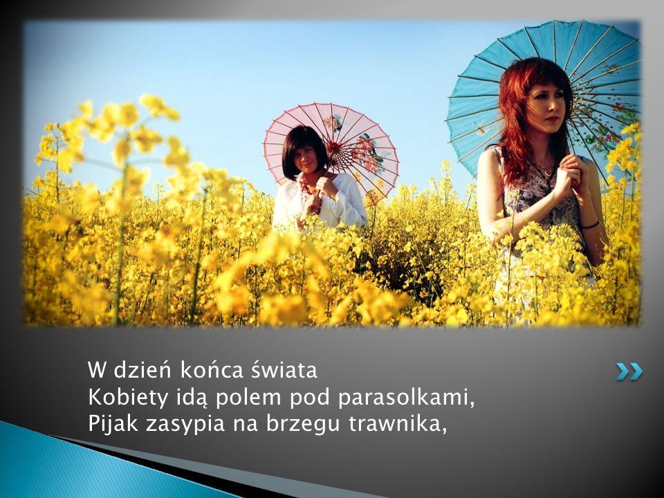W dzień końca świata Kobiety idą polem pod parasolkami, Pijak zasypia na brzegu trawnika,