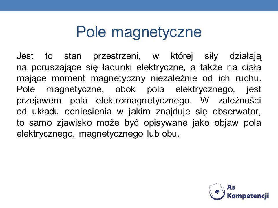 Pole magnetyczne Jest to stan przestrzeni, w której siły działają na poruszające się ładunki elektryczne, a także na ciała mające moment magnetyczny n