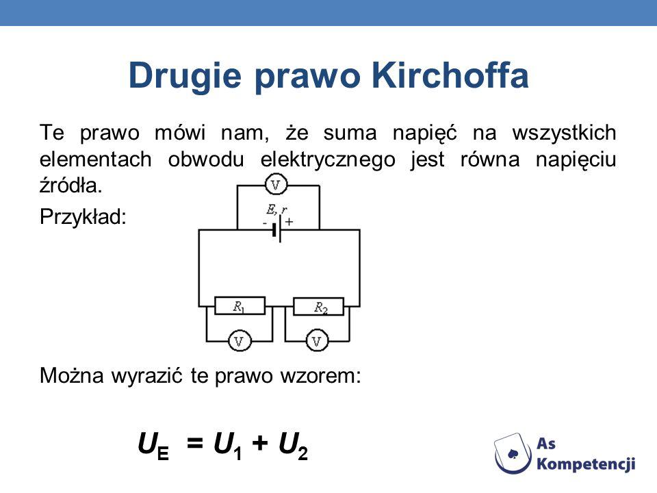 Drugie prawo Kirchoffa Te prawo mówi nam, że suma napięć na wszystkich elementach obwodu elektrycznego jest równa napięciu źródła. Przykład: Można wyr