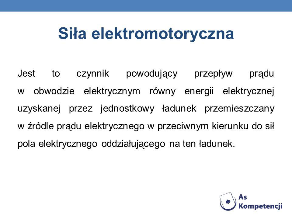 Siła elektromotoryczna Jest to czynnik powodujący przepływ prądu w obwodzie elektrycznym równy energii elektrycznej uzyskanej przez jednostkowy ładune