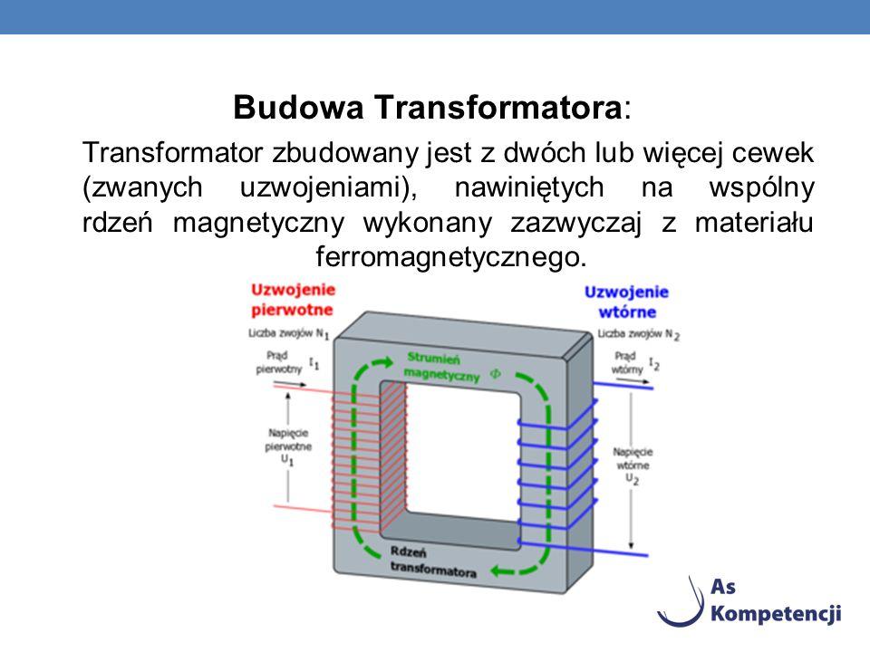 Budowa Transformatora: Transformator zbudowany jest z dwóch lub więcej cewek (zwanych uzwojeniami), nawiniętych na wspólny rdzeń magnetyczny wykonany