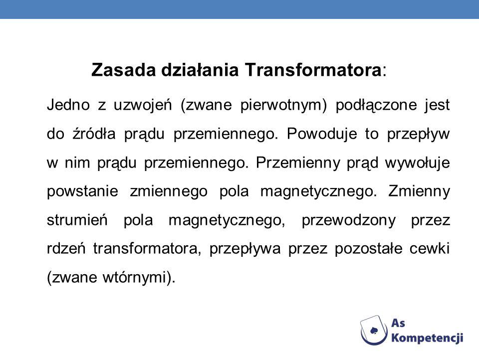 Zasada działania Transformatora: Jedno z uzwojeń (zwane pierwotnym) podłączone jest do źródła prądu przemiennego. Powoduje to przepływ w nim prądu prz