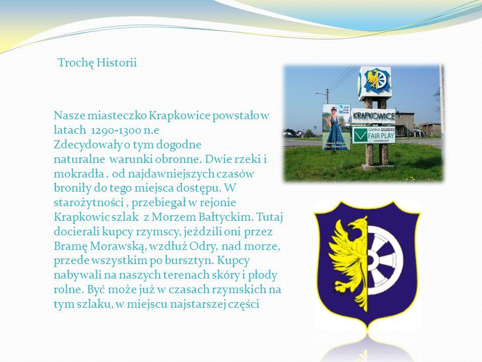 Nasze miasteczko Krapkowice powstało w latach 1290-1300 n.e Zdecydowały o tym dogodne naturalne warunki obronne. Dwie rzeki i mokradła. od najdawniejs