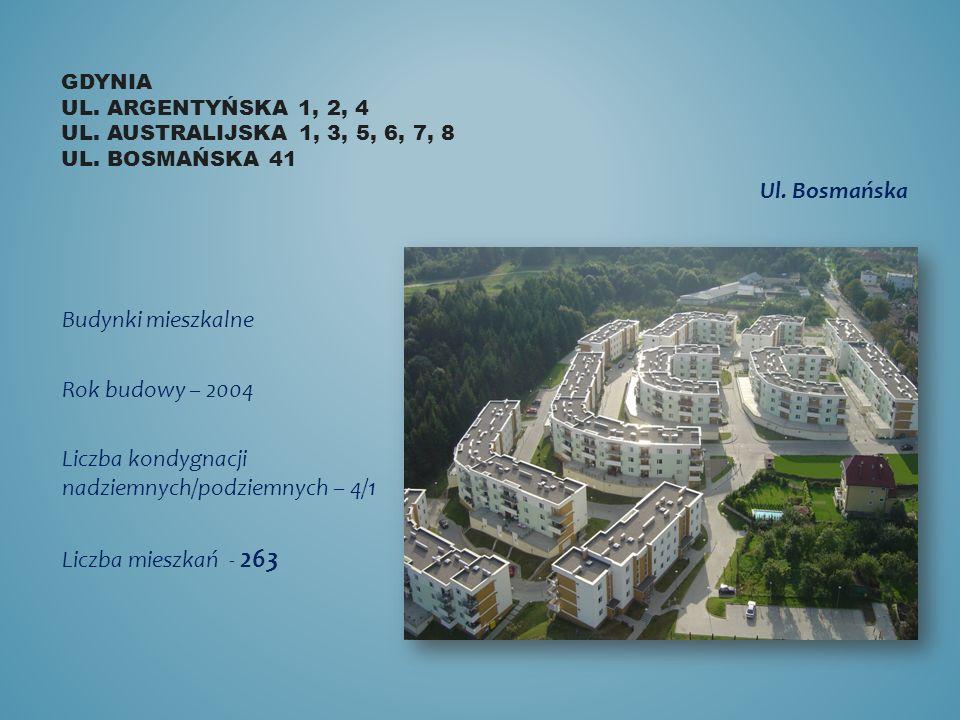 GDYNIA UL. ARGENTYŃSKA 1, 2, 4 UL. AUSTRALIJSKA 1, 3, 5, 6, 7, 8 UL. BOSMAŃSKA 41 Budynki mieszkalne Rok budowy – 2004 Liczba kondygnacji nadziemnych/