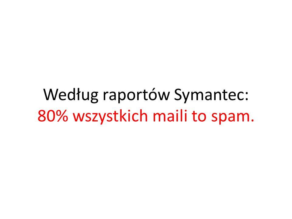 Według raportów Symantec: 80% wszystkich maili to spam.