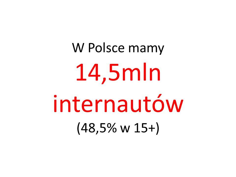 W Polsce mamy 14,5mln internautów (48,5% w 15+)
