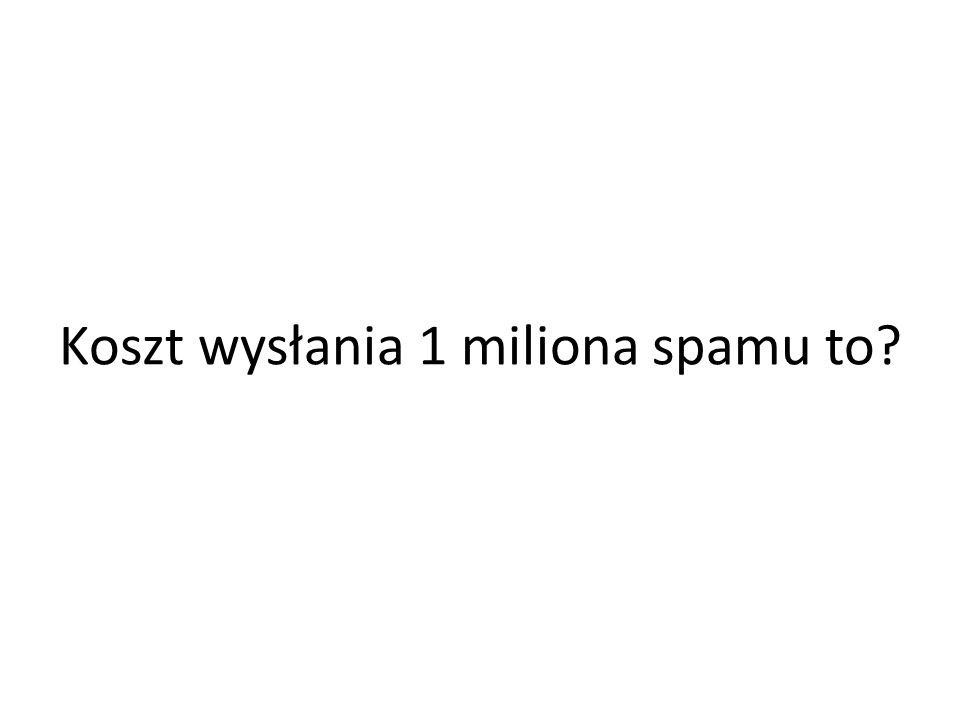 Koszt wysłania 1 miliona spamu to?