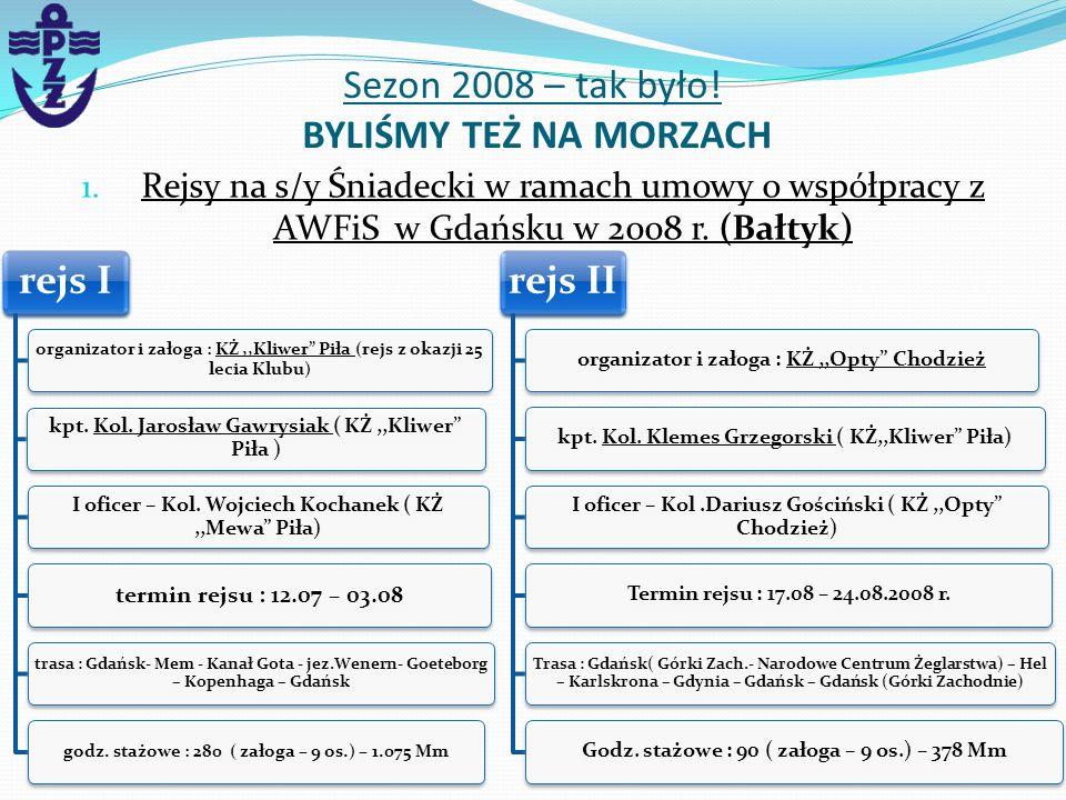 1. Rejsy na s/y Śniadecki w ramach umowy o współpracy z AWFiS w Gdańsku w 2008 r. (Bałtyk) Sezon 2008 – tak było! BYLIŚMY TEŻ NA MORZACH rejs I organi