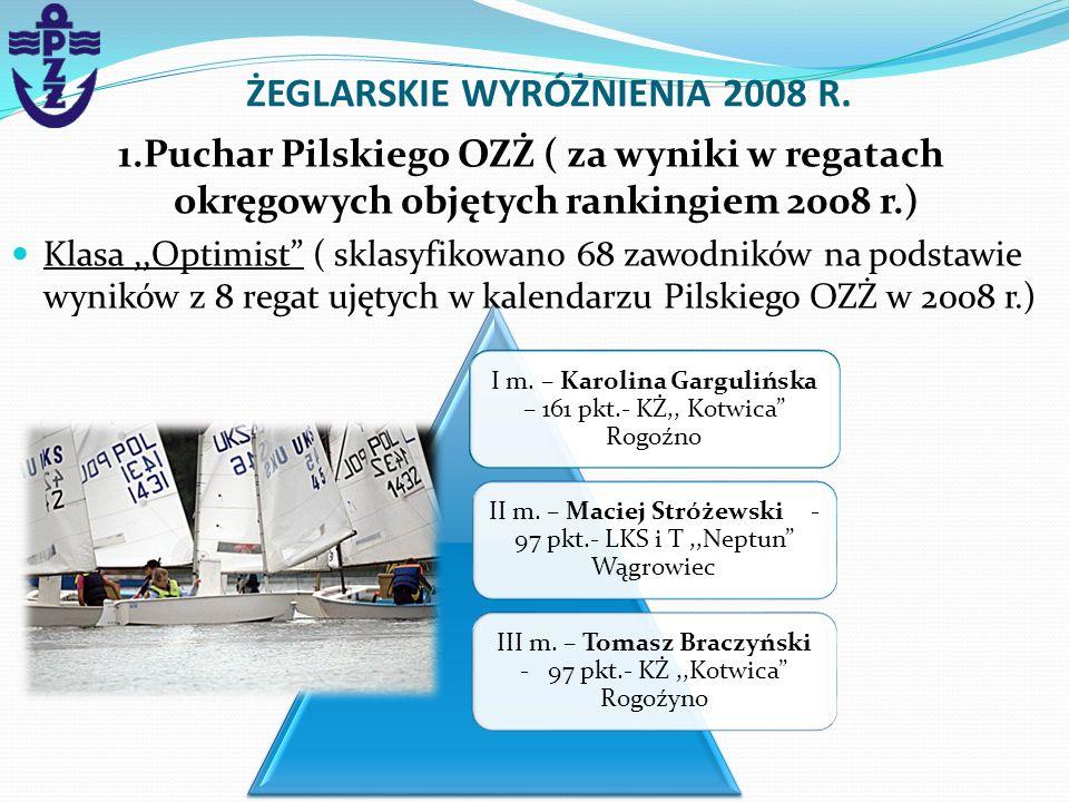 I m. – Karolina Gargulińska – 161 pkt.- KŻ,, Kotwica Rogoźno II m. – Maciej Stróżewski - 97 pkt.- LKS i T,,Neptun Wągrowiec III m. – Tomasz Braczyński