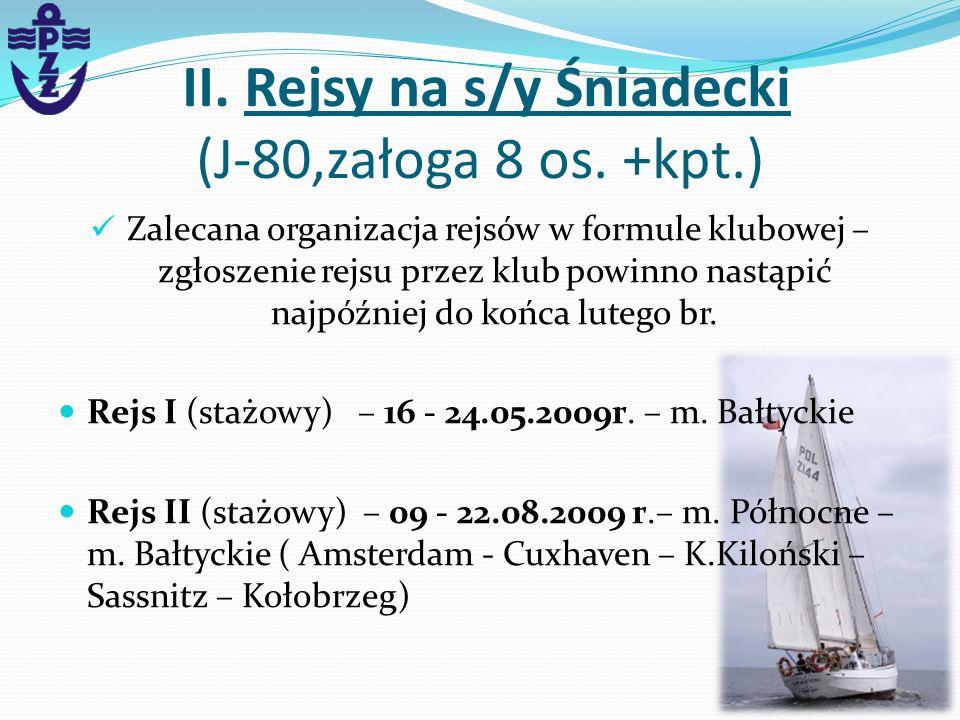 II. Rejsy na s/y Śniadecki (J-80,załoga 8 os. +kpt.) Zalecana organizacja rejsów w formule klubowej – zgłoszenie rejsu przez klub powinno nastąpić naj
