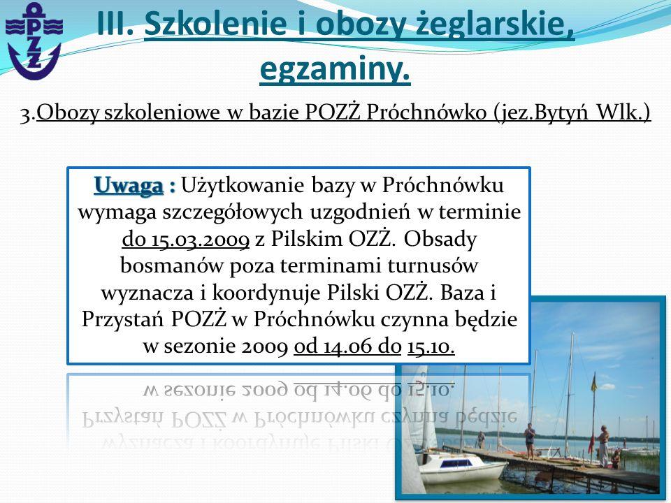 3.Obozy szkoleniowe w bazie POZŻ Próchnówko (jez.Bytyń Wlk.) III. Szkolenie i obozy żeglarskie, egzaminy.