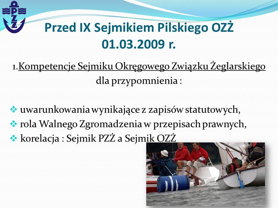 Przed IX Sejmikiem Pilskiego OZŻ 01.03.2009 r. 1.Kompetencje Sejmiku Okręgowego Związku Żeglarskiego dla przypomnienia : uwarunkowania wynikające z za