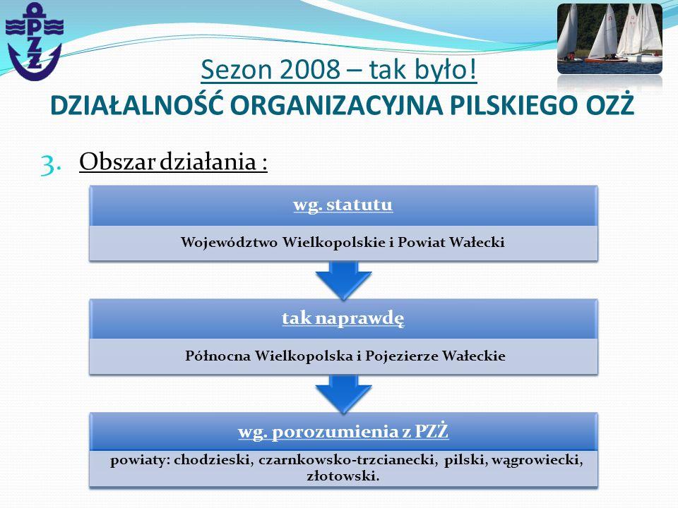 3. Obszar działania : Sezon 2008 – tak było! DZIAŁALNOŚĆ ORGANIZACYJNA PILSKIEGO OZŻ wg. porozumienia z PZŻ powiaty: chodzieski, czarnkowsko-trzcianec