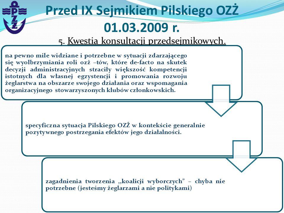 Przed IX Sejmikiem Pilskiego OZŻ 01.03.2009 r. 5. Kwestia konsultacji przedsejmikowych. na pewno mile widziane i potrzebne w sytuacji zdarzającego się