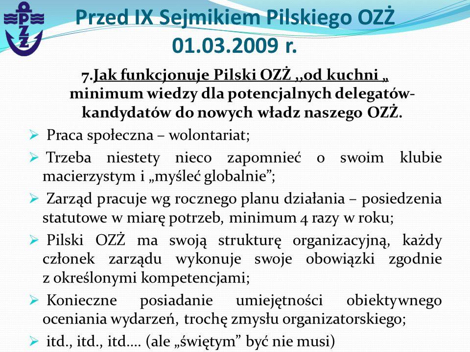 Przed IX Sejmikiem Pilskiego OZŻ 01.03.2009 r. 7.Jak funkcjonuje Pilski OZŻ,,od kuchni minimum wiedzy dla potencjalnych delegatów- kandydatów do nowyc