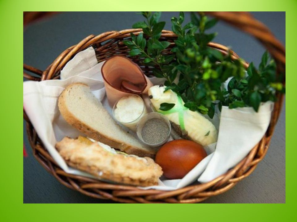 Tradycyjnie w Wielką Sobotę dokonywany jest obrzęd poświęcenia pokarmów spożywanych następnie podczas śniadania w Niedzielę Wielkanocną. Pokarmy przyn