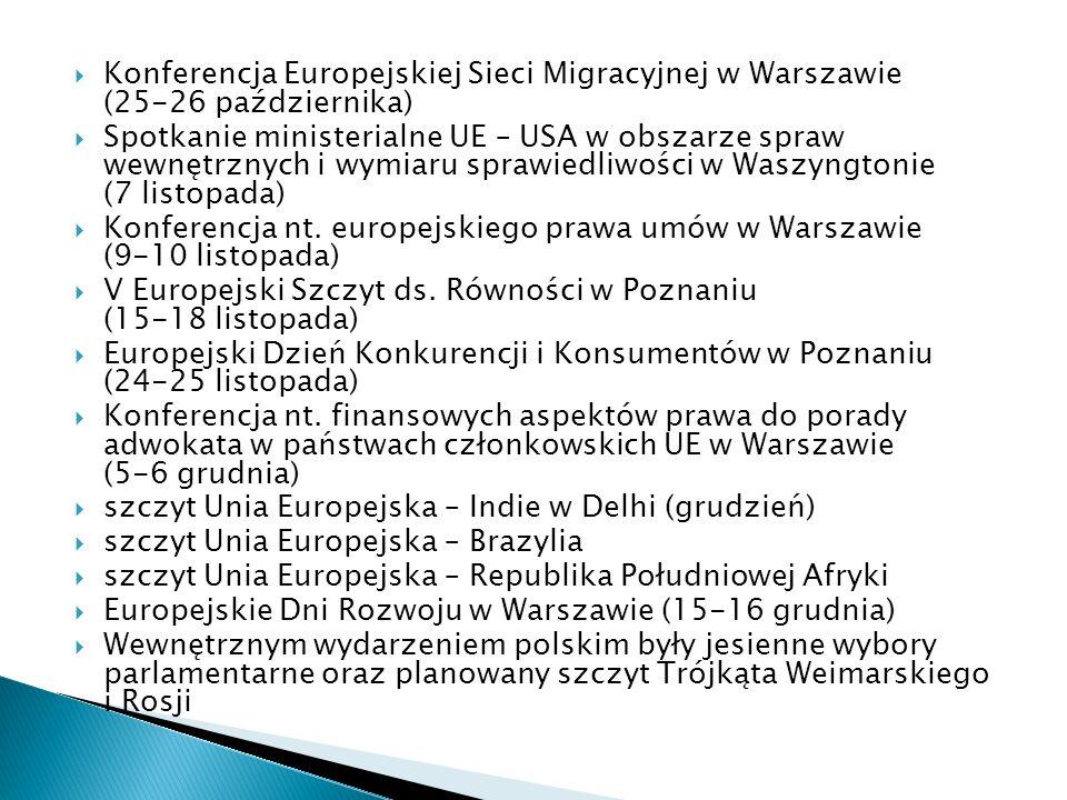 Konferencja Europejskiej Sieci Migracyjnej w Warszawie (25-26 października) Spotkanie ministerialne UE – USA w obszarze spraw wewnętrznych i wymiaru s