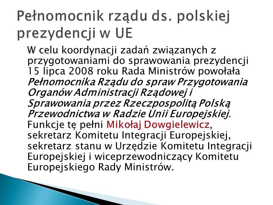 W celu koordynacji zadań związanych z przygotowaniami do sprawowania prezydencji 15 lipca 2008 roku Rada Ministrów powołała Pełnomocnika Rządu do spra