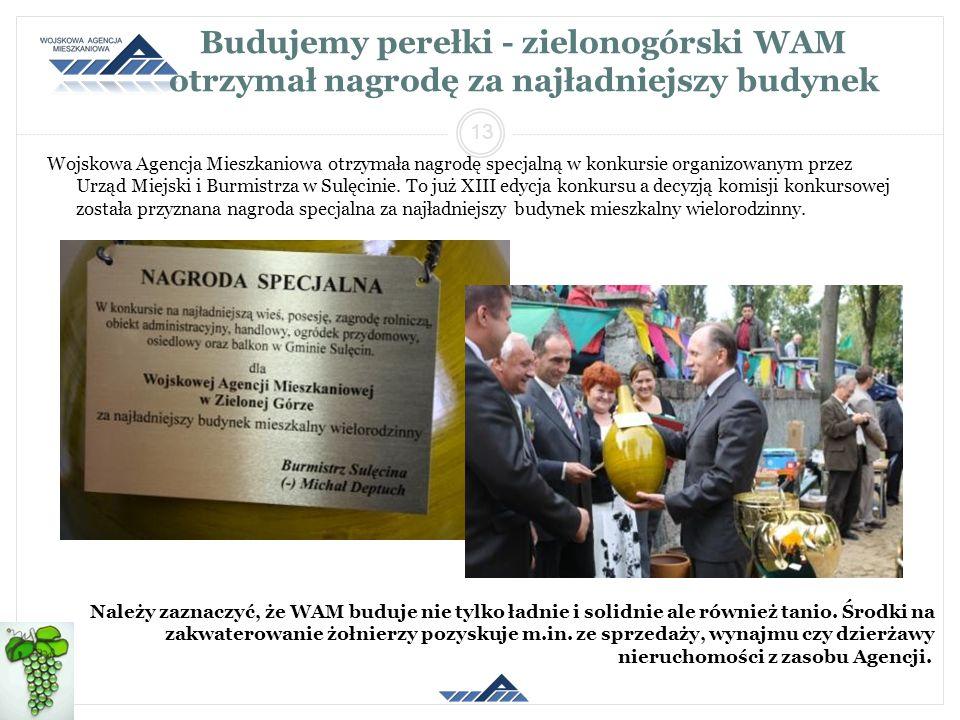 Budujemy perełki - zielonogórski WAM otrzymał nagrodę za najładniejszy budynek Wojskowa Agencja Mieszkaniowa otrzymała nagrodę specjalną w konkursie o