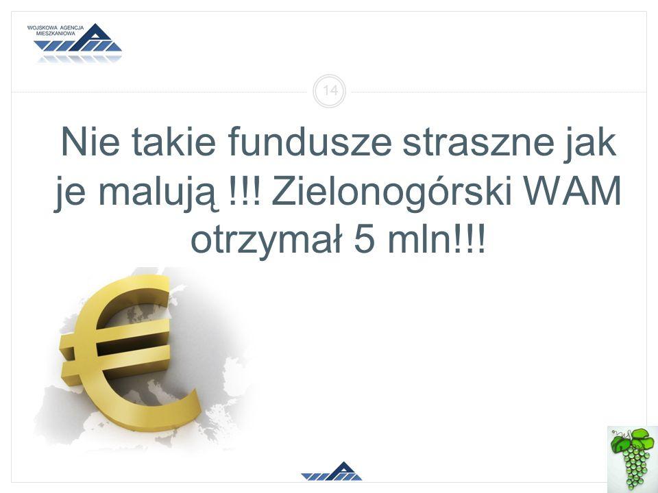 Nie takie fundusze straszne jak je malują !!! Zielonogórski WAM otrzymał 5 mln!!! 2014-01-26 Oddział Regionalny Zielona Góra 14