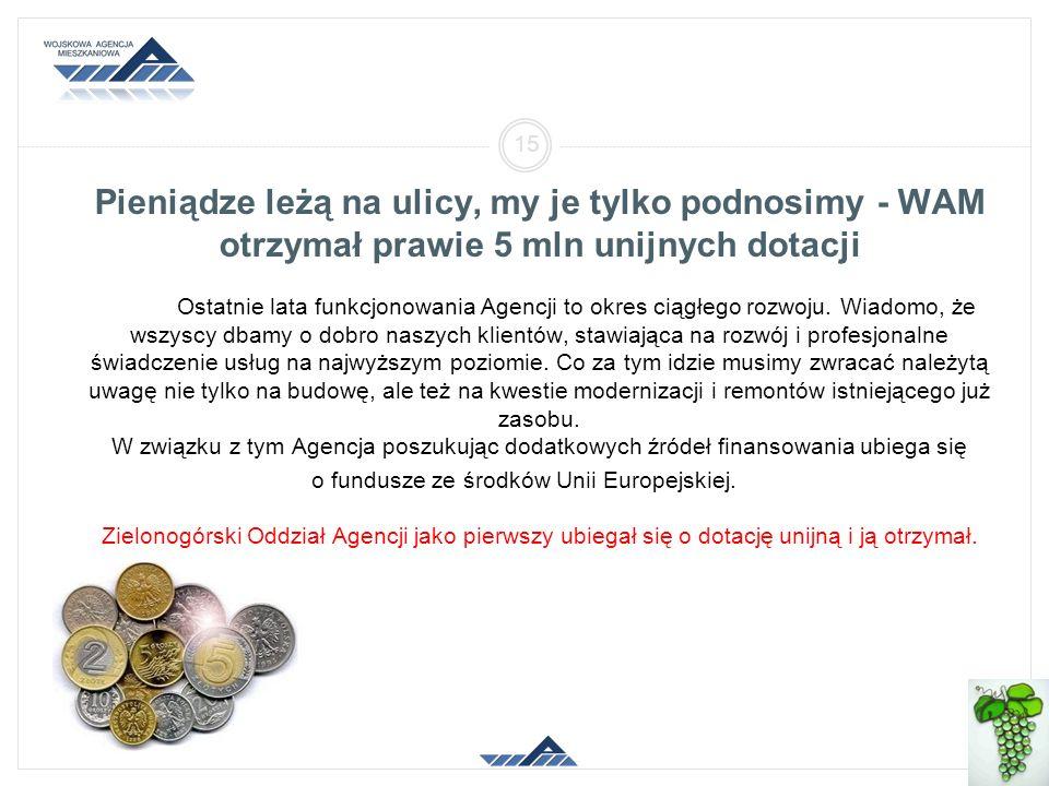 Pieniądze leżą na ulicy, my je tylko podnosimy - WAM otrzymał prawie 5 mln unijnych dotacji Ostatnie lata funkcjonowania Agencji to okres ciągłego rozwoju.