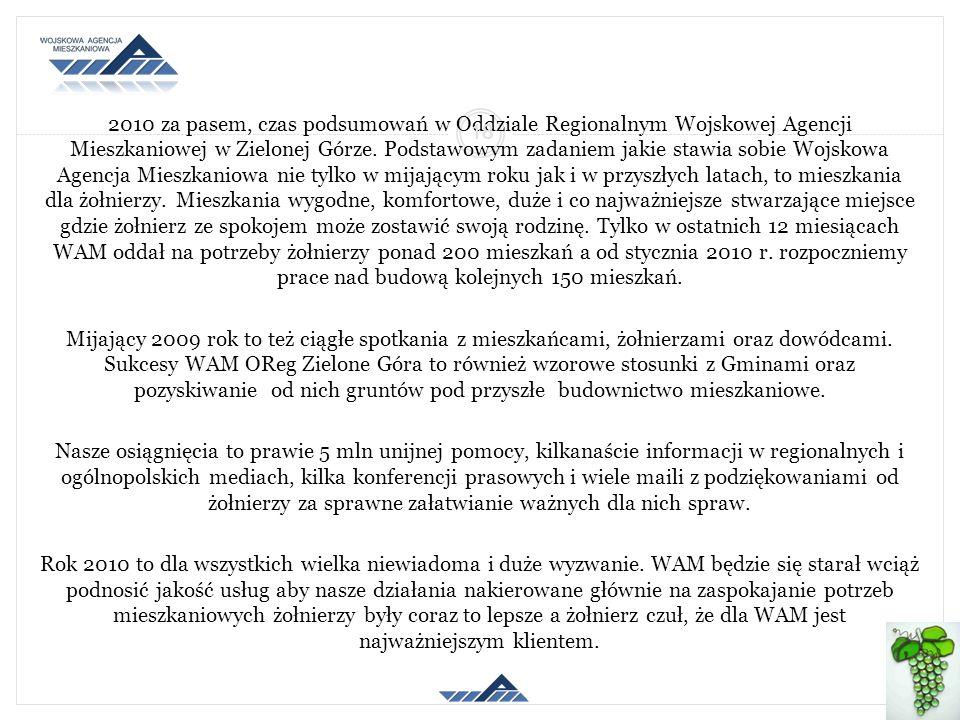 2010 za pasem, czas podsumowań w Oddziale Regionalnym Wojskowej Agencji Mieszkaniowej w Zielonej Górze. Podstawowym zadaniem jakie stawia sobie Wojsko