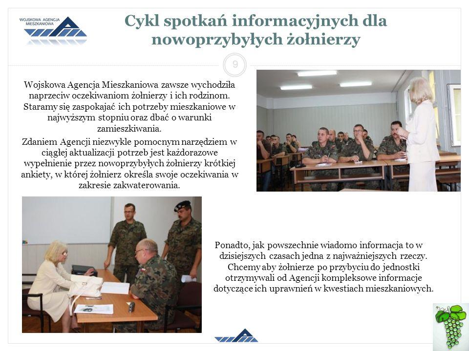 Cykl spotkań informacyjnych dla nowoprzybyłych żołnierzy Wojskowa Agencja Mieszkaniowa zawsze wychodziła naprzeciw oczekiwaniom żołnierzy i ich rodzin