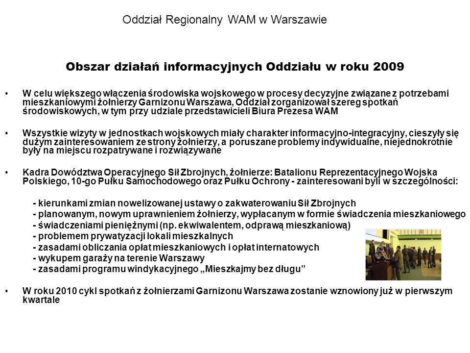 Oddział Regionalny WAM w Warszawie Obszar działań informacyjnych Oddziału w roku 2009 W celu większego włączenia środowiska wojskowego w procesy decyz
