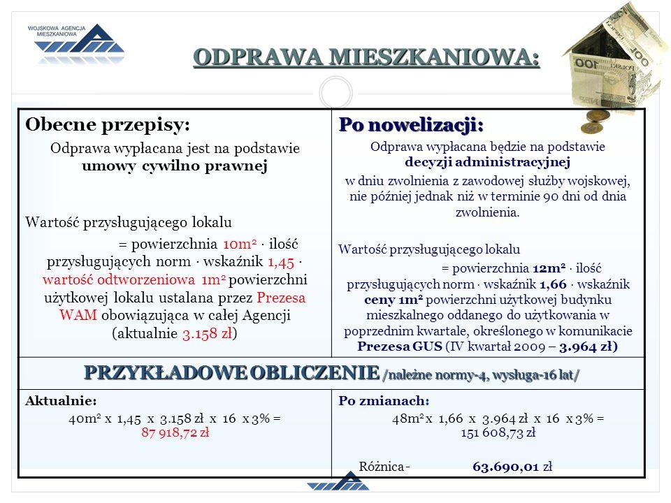 ODPRAWA MIESZKANIOWA: Obecne przepisy: Odprawa wypłacana jest na podstawie umowy cywilno prawnej Wartość przysługującego lokalu = powierzchnia 10m 2 i