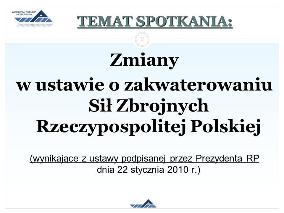 TEMAT SPOTKANIA: Zmiany w ustawie o zakwaterowaniu Sił Zbrojnych Rzeczypospolitej Polskiej (wynikające z ustawy podpisanej przez Prezydenta RP dnia 22