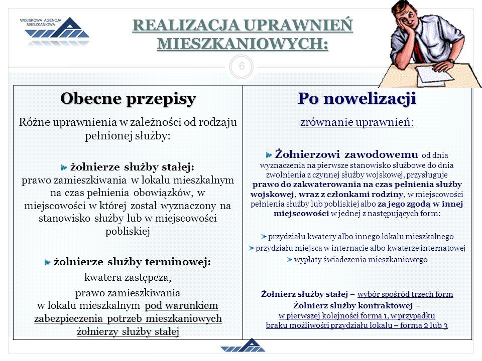 2014-01-26 6 REALIZACJA UPRAWNIEŃ MIESZKANIOWYCH: Obecne przepisy Po nowelizacji Różne uprawnienia w zależności od rodzaju pełnionej służby: żołnierze