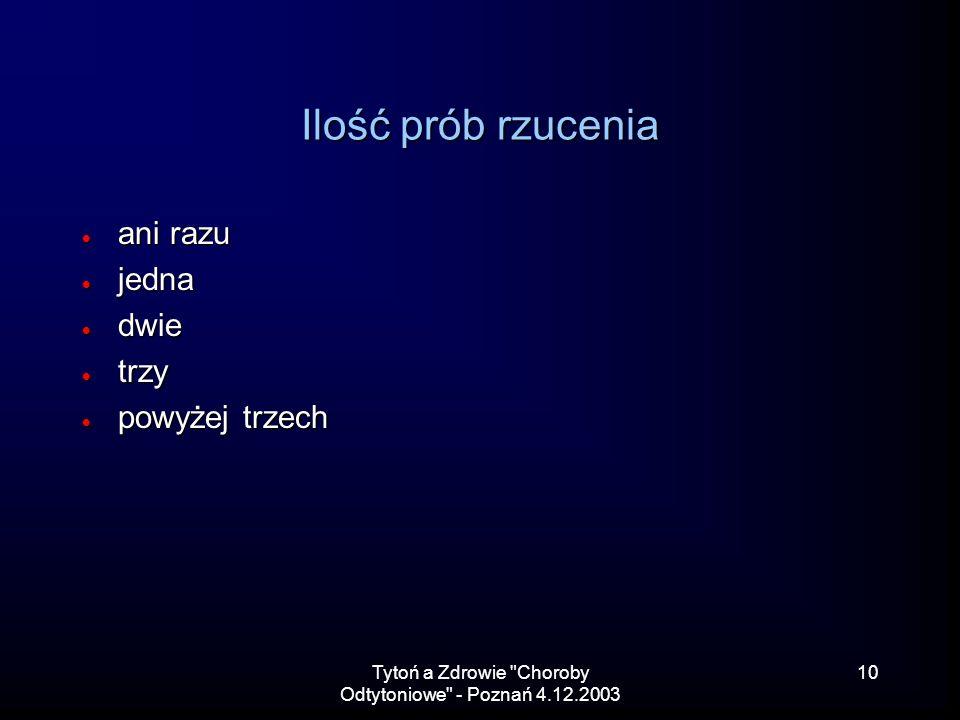 Tytoń a Zdrowie Choroby Odtytoniowe - Poznań 4.12.2003 10 Ilość prób rzucenia ani razu ani razu jedna jedna dwie dwie trzy trzy powyżej trzech powyżej trzech