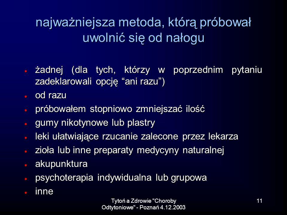 Tytoń a Zdrowie Choroby Odtytoniowe - Poznań 4.12.2003 11 najważniejsza metoda, którą próbował uwolnić się od nałogu żadnej (dla tych, którzy w poprzednim pytaniu zadeklarowali opcję ani razu) żadnej (dla tych, którzy w poprzednim pytaniu zadeklarowali opcję ani razu) od razu od razu próbowałem stopniowo zmniejszać ilość próbowałem stopniowo zmniejszać ilość gumy nikotynowe lub plastry gumy nikotynowe lub plastry leki ułatwiające rzucanie zalecone przez lekarza leki ułatwiające rzucanie zalecone przez lekarza zioła lub inne preparaty medycyny naturalnej zioła lub inne preparaty medycyny naturalnej akupunktura akupunktura psychoterapia indywidualna lub grupowa psychoterapia indywidualna lub grupowa inne inne