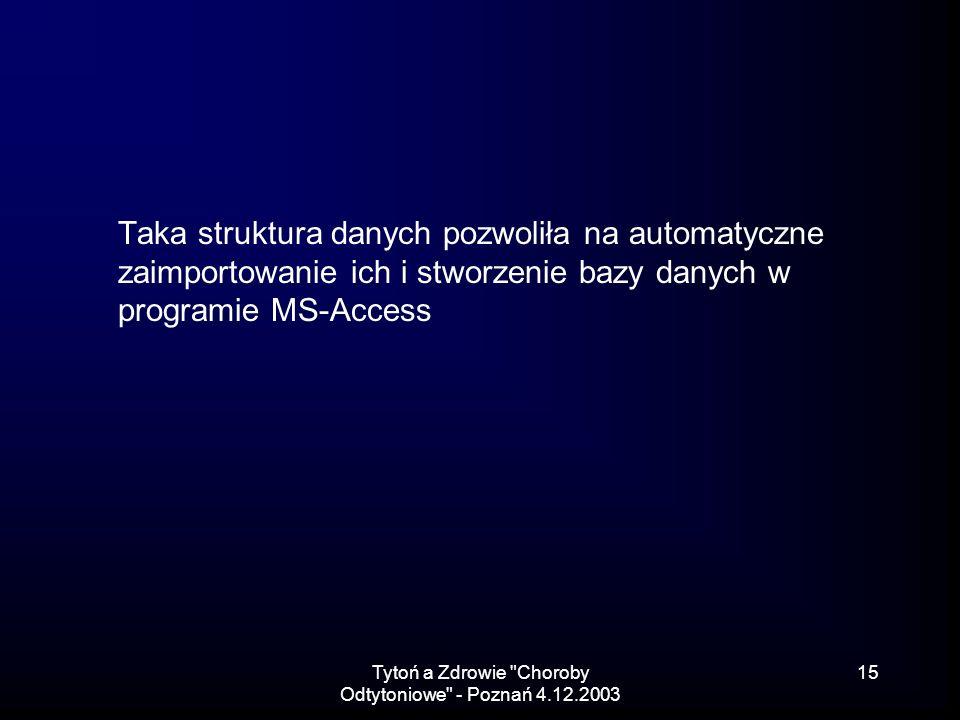 Tytoń a Zdrowie Choroby Odtytoniowe - Poznań 4.12.2003 15 Taka struktura danych pozwoliła na automatyczne zaimportowanie ich i stworzenie bazy danych w programie MS-Access