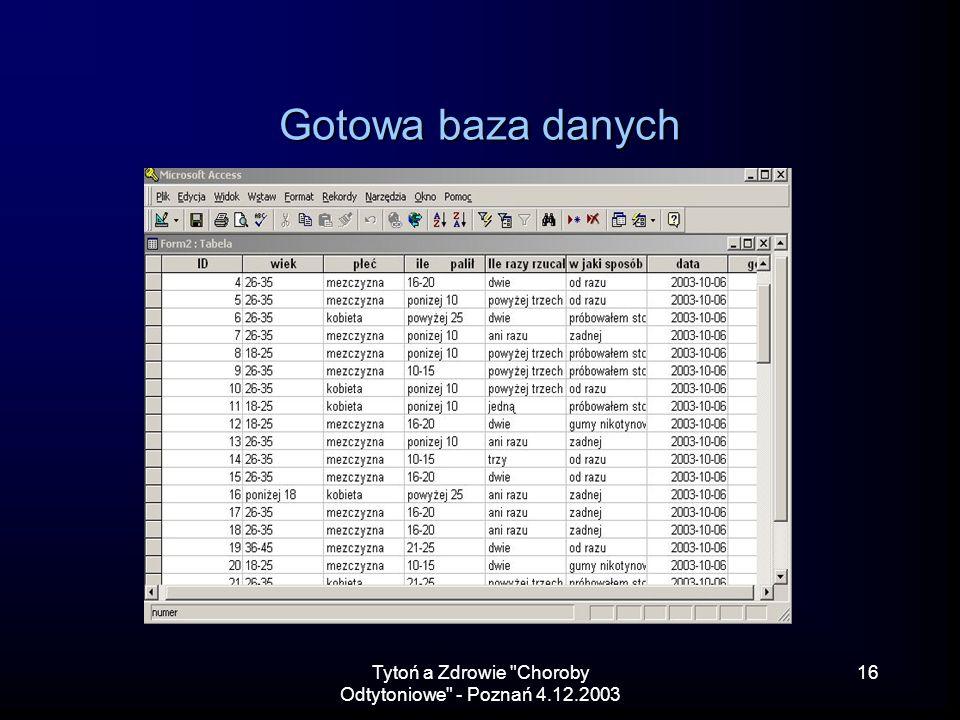 Tytoń a Zdrowie Choroby Odtytoniowe - Poznań 4.12.2003 16 Gotowa baza danych