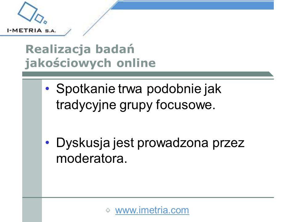 www.imetria.com Realizacja badań jakościowych online Spotkanie trwa podobnie jak tradycyjne grupy focusowe.
