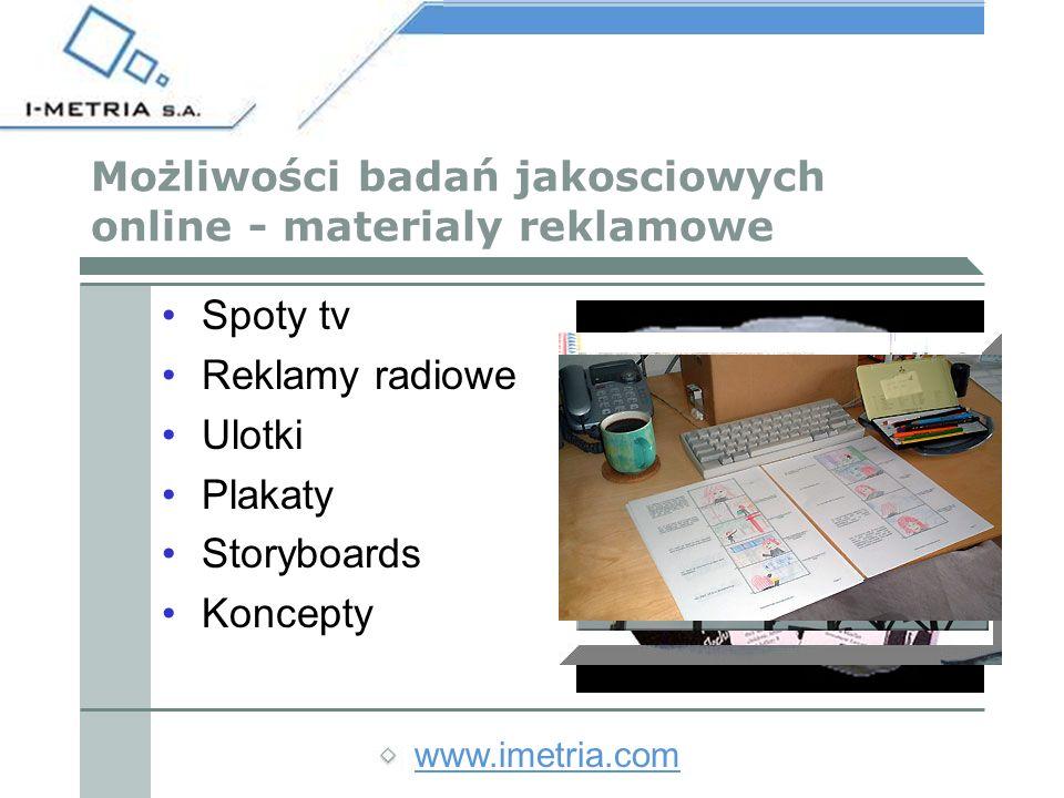 www.imetria.com Możliwości badań jakosciowych online - materialy reklamowe Spoty tv Reklamy radiowe Ulotki Plakaty Storyboards Koncepty