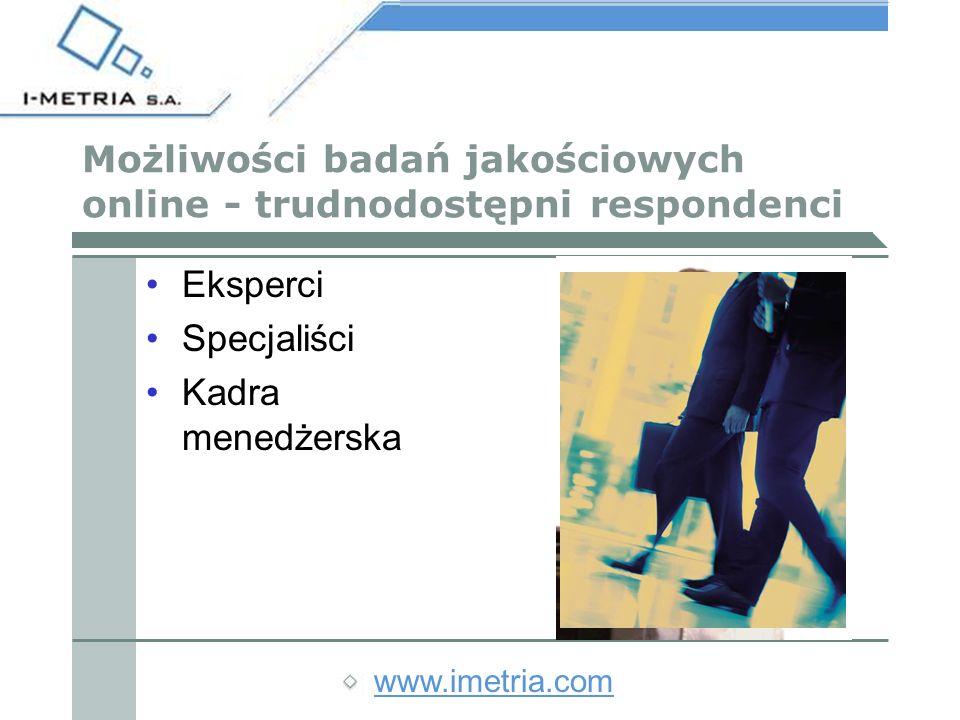 www.imetria.com Realizacja badań jakościowych online Kilkustopniowa rekrutacja Kontakt telefoniczny bezpośrednio przed badaniem Własny identyfikator i hasło, aktywne tylko określonego dnia i o określonej godzinie