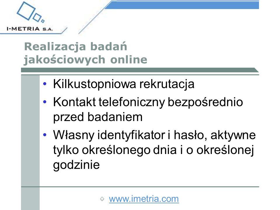 www.imetria.com ZALETY BADAŃ JAKOŚCIOWYCH ONLINE Można dotrzeć równocześnie do respondentów znajdujących się w różnych częściach kraju.