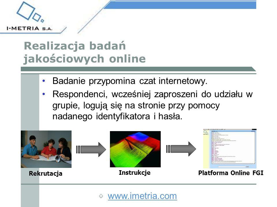 www.imetria.com ZALETY BADAŃ JAKOŚCIOWYCH ONLINE Są mniej kosztowne od tradycyjnych FGI Są mniej czasochłonne