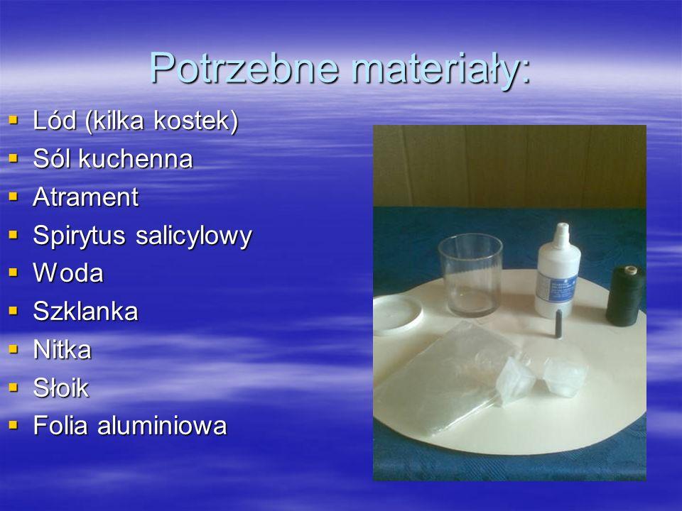 Potrzebne materiały: Lód (kilka kostek) Lód (kilka kostek) Sól kuchenna Sól kuchenna Atrament Atrament Spirytus salicylowy Spirytus salicylowy Woda Woda Szklanka Szklanka Nitka Nitka Słoik Słoik Folia aluminiowa Folia aluminiowa