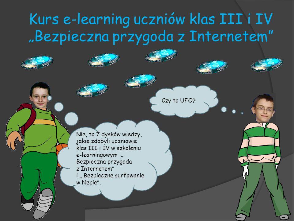 Kurs e-learning uczniów klas III i IV Bezpieczna przygoda z Internetem Na zajęciach pozalekcyjnych uczniowie klas III i IV ukończyli kurs e-learningowy Bezpieczne surfowanie w Necie.
