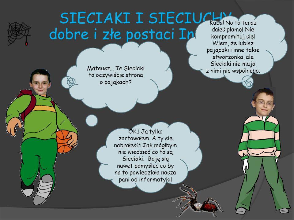 Serwis www.sieciaki.pl opiera się na przygodach postaci dzieci posiadających specjalne zdolności i wykorzystujących je w walce z internetowymi zagrożeniami.