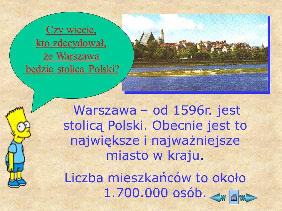 Warszawa – od 1596r.jest stolicą Polski.
