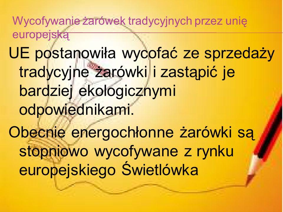 Data Minimalna moc żarówek których sprzedaży zakazano 1 września 2009 r. 100 watów + wszystkie rodzaje żarówek matowych 1 września 2010 r.75 watów 1 w