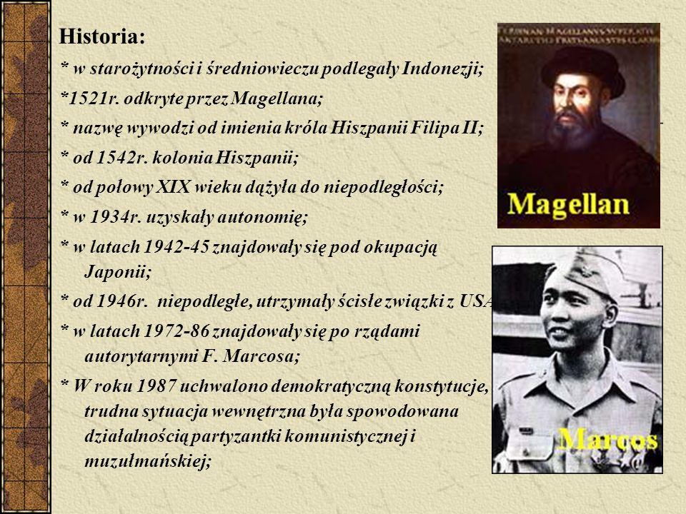 Historia: * w starożytności i średniowieczu podlegały Indonezji; *1521r.